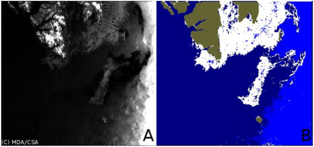 Figure 1: An example of Radarsat-2 image (A) classification (B) into ice (white), calm water (dark blue) and rough water (blue). Greenish color masks land (Svalbard on top and Bear Island near bottom on this image). ©NERSC/NIERSC
